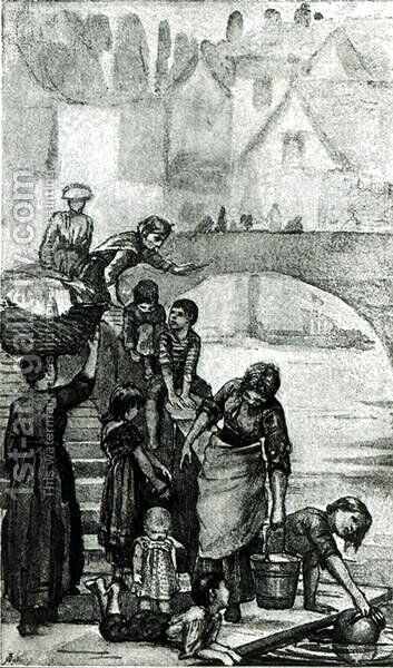 Fetching Water from the River from London Street Arabs by Dorothy Tennant, 1890 by Dorothy, nee Tennant Stanley - Reproduction Oil Painting