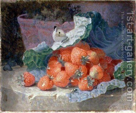 Strawberries in a Cabbage Leaf with a Flower Pot Behind, 1881 by Eloise Harriet Stannard - Reproduction Oil Painting