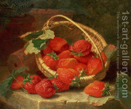 A Basket of Strawberries on a stone ledge, 1888 by Eloise Harriet Stannard - Reproduction Oil Painting