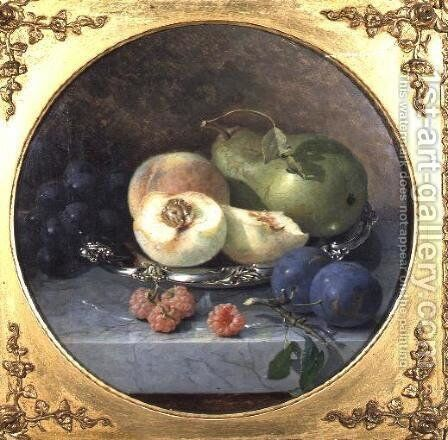 Still Life of Fruit on a Marble Ledge by Eloise Harriet Stannard - Reproduction Oil Painting
