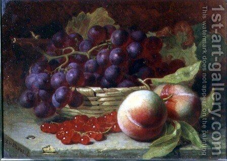 A still life of red currants, peaches and grapes in a basket by Eloise Harriet Stannard - Reproduction Oil Painting