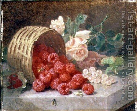 Overturned Basket with Raspberries and White Currants, 1882 by Eloise Harriet Stannard - Reproduction Oil Painting