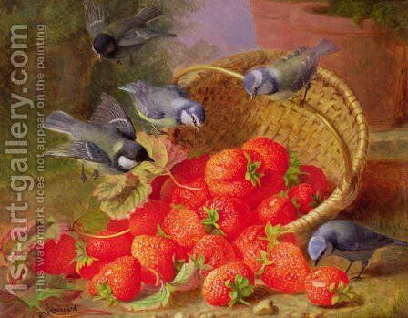 Still Life with Strawberries and Bluetits by Eloise Harriet Stannard - Reproduction Oil Painting