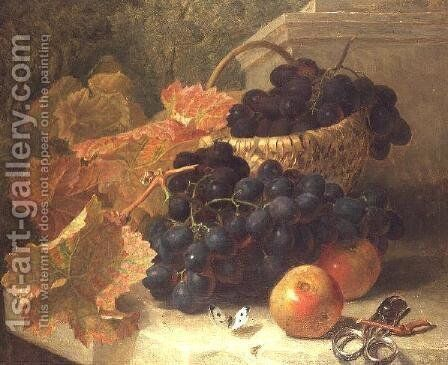 Still Life with Grapes and Scissors on a Stone Shelf by Eloise Harriet Stannard - Reproduction Oil Painting