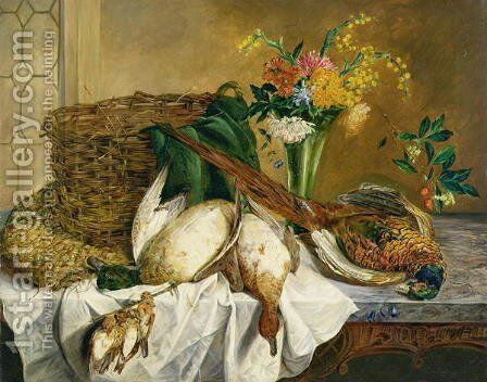 Still life of ducks, pheasant and flowers, 1855 by Emily Stannard - Reproduction Oil Painting