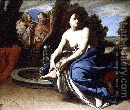 Suzanna and the Elders by Massimo Stanzione - Reproduction Oil Painting