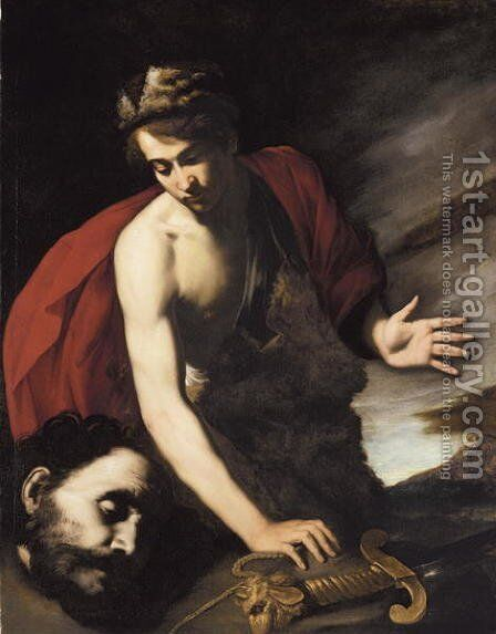 David with the Head of Goliath, c.1630 by Massimo Stanzione - Reproduction Oil Painting