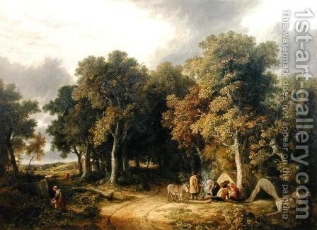 Encampment in a Wooded Landscape by James Stark - Reproduction Oil Painting
