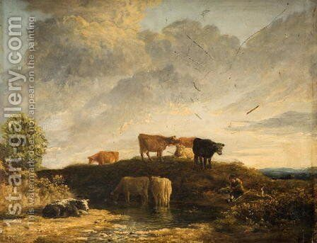 Cows at a Watering Place by James Stark - Reproduction Oil Painting
