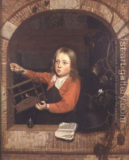 Young Boy with a Birdcage by Jan Adriansz van Staveren - Reproduction Oil Painting
