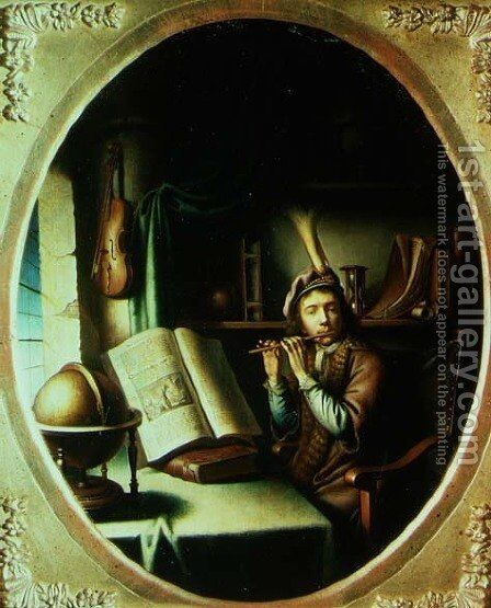 The Flute Player by Jan Adriansz van Staveren - Reproduction Oil Painting