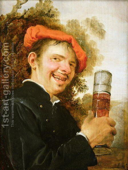 A man in a landscape, raising a beer glass by Petrus Staverenus - Reproduction Oil Painting