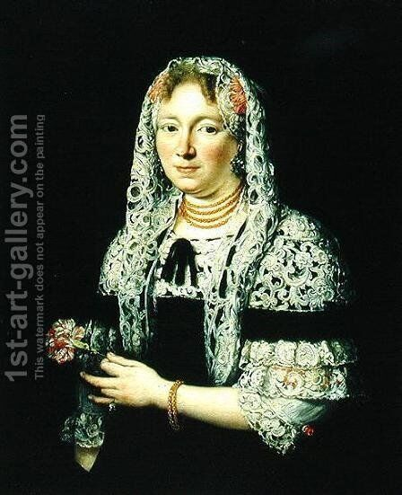Portrait of a Patrician Lady from Gdansk by Andrzej Stech - Reproduction Oil Painting