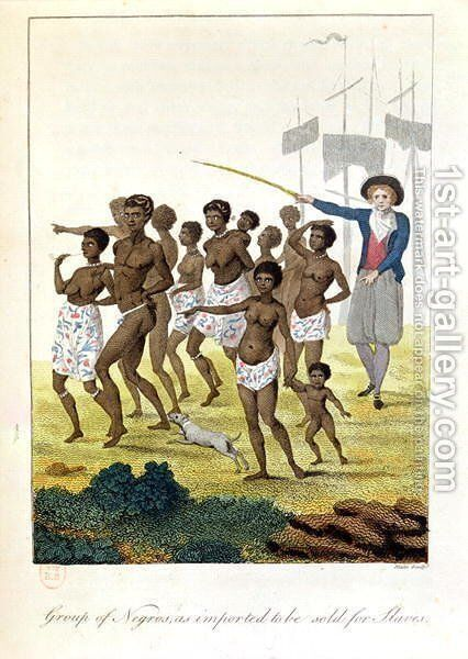 Group of negroes imported to be sold for Slaves in 1793, from Narrative of a Five Years Expedition against the Revolted Negroes of Surinam, by J.G. Stedman, 1796 by John Gabriel Stedman - Reproduction Oil Painting