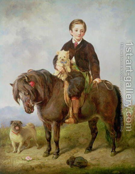 John Samuel Bradford as a boy seated on a shetland pony with a pug dog by Gourlay Steell - Reproduction Oil Painting