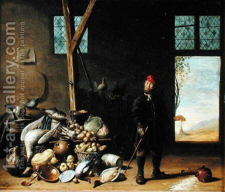 Peasant in an Interior or, Kitchen with a Still Life by Harmen van Steenwyck - Reproduction Oil Painting