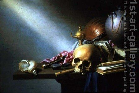 Still Life An Allegory of the Vanities of Human Life, c.1640 by Harmen van Steenwyck - Reproduction Oil Painting