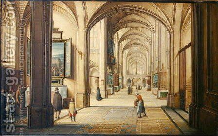 Church interior with a sacristan showing a painting to visitors, 1608 by Hendrick van, the Younger Steenwyck - Reproduction Oil Painting