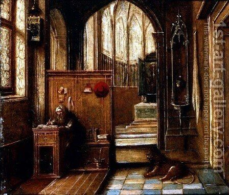 St. Jerome in his Study by Hendrick van, the Younger Steenwyck - Reproduction Oil Painting