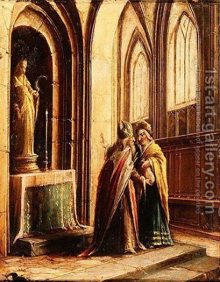 Two Figures in a Church by Hendrick van, the Younger Steenwyck - Reproduction Oil Painting