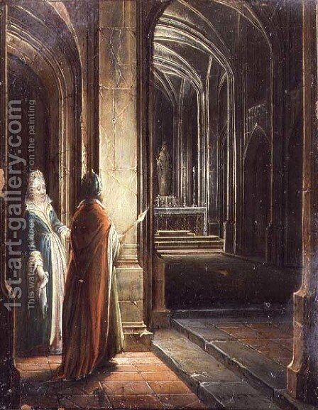 Figures in a Church by Hendrick van, the Younger Steenwyck - Reproduction Oil Painting