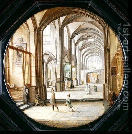 The interior of a cathedral with gentlemen and beggars, 1621 by Hendrick van, the Younger Steenwyck - Reproduction Oil Painting