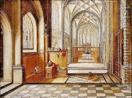 St Jerome in a Gothic Church by Hendrick van, the Younger Steenwyck - Reproduction Oil Painting