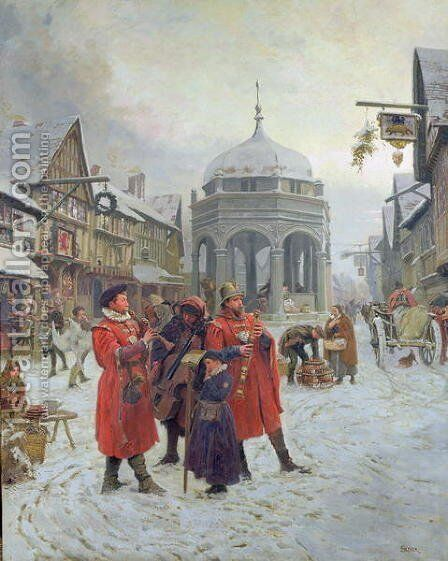 Christmas Eve, Highcross Market, Leicester by Henry Reynolds Steer - Reproduction Oil Painting
