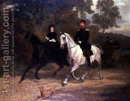 A Lady and an Officer, possibly Crown Prince and Princess of Prussia, riding in a park by Carl Steffeck - Reproduction Oil Painting