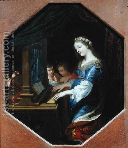 St. Cecilia Playing the Organ by Jacques Stella - Reproduction Oil Painting