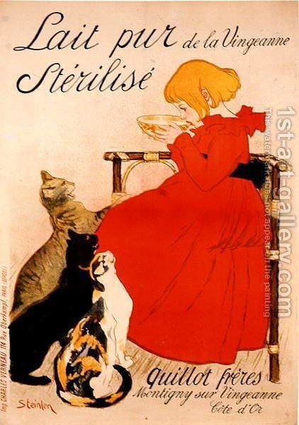 Poster advertising Milk, published by Charles Verneau, Paris, 1894 by Theophile Alexandre Steinlen - Reproduction Oil Painting