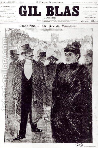 Illustration for LInconnue by Guy de Maupassant 1850-94, front cover of Gil Blas, 1st November 1891 by Theophile Alexandre Steinlen - Reproduction Oil Painting