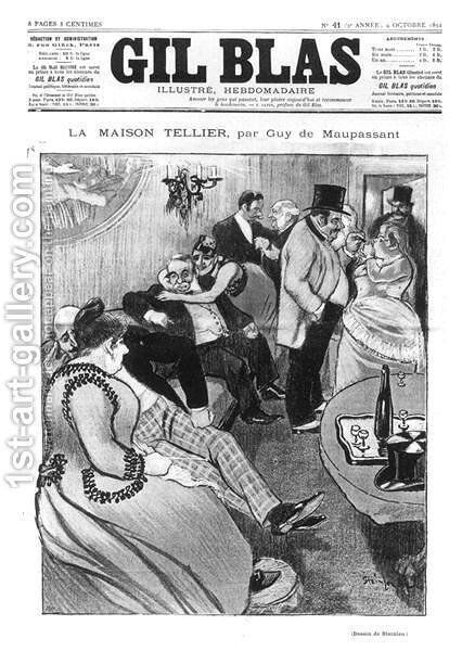 Illustration for La Maison Tellier by Guy de Maupassant 1850-93, front cover of Gil Blas, 9th October 1892 by Theophile Alexandre Steinlen - Reproduction Oil Painting