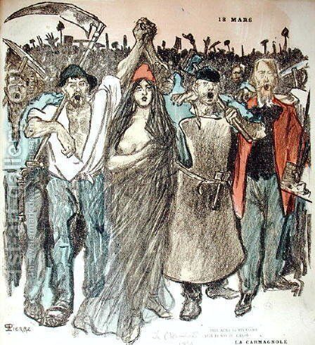 La Carmagnole, patriotic song of the French Revolution, from Le Chambard Socialiste, 1894 by Theophile Alexandre Steinlen - Reproduction Oil Painting