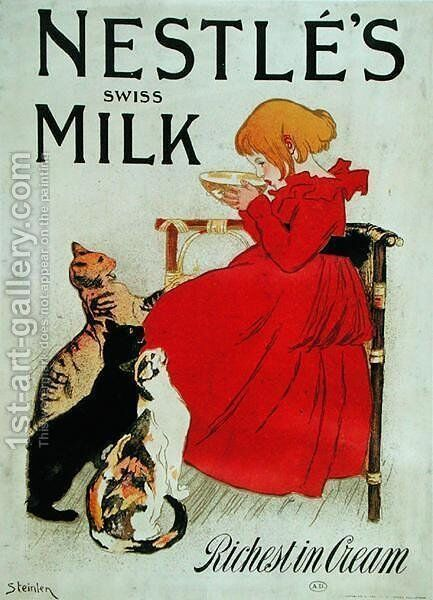 Poster Advertising Nestles Swiss Milk, late 19th century by Theophile Alexandre Steinlen - Reproduction Oil Painting