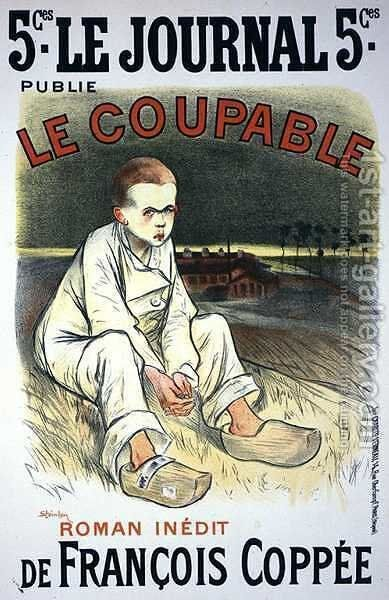 Reproduction of a poster advertising the novel Le Coupable, by Francois Coppee, published in Le Journal, 1896 by Theophile Alexandre Steinlen - Reproduction Oil Painting