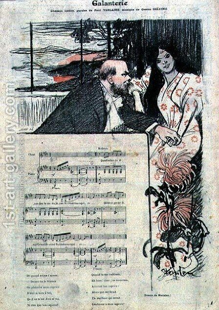 Illustrated score sheet for Galenterie, words by Paul Verlaine and music by Gaston Deletre by Theophile Alexandre Steinlen - Reproduction Oil Painting