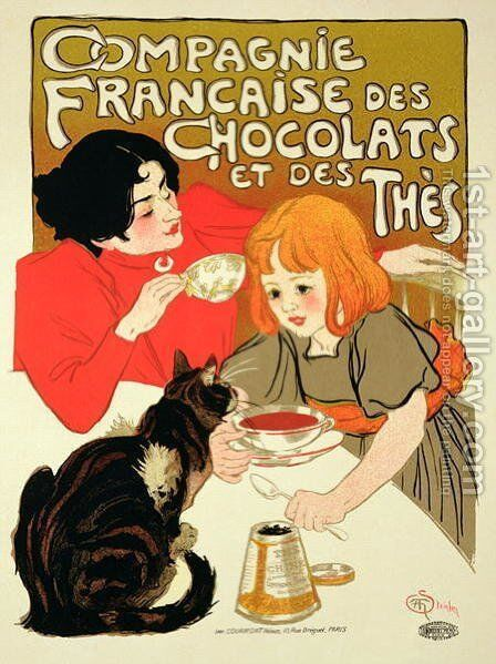 Reproduction of a Poster Advertising the French Company of Chocolate and Tea by Theophile Alexandre Steinlen - Reproduction Oil Painting