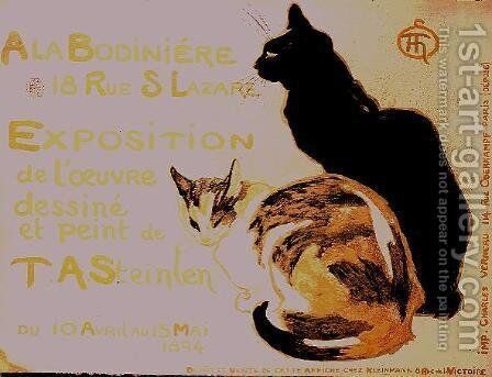 Exposition a la Bodiniere..., poster advertising an exhibition of new work, 1894 by Theophile Alexandre Steinlen - Reproduction Oil Painting