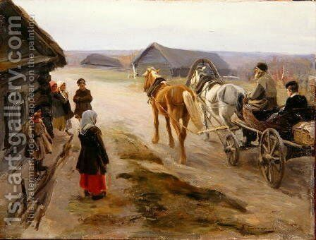 Arrival of a School-Mistress in the Country, c.1908-14 by Aleksi Stepanovich Stepanov - Reproduction Oil Painting
