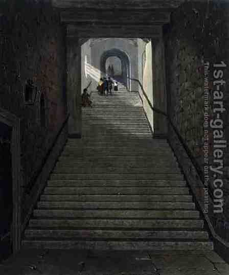 The Ancient Staircase, Windsor Castle, from Royal Residences, engraved by R. Reeve, pub. by William Henry Pyne 1769-1843, 1818 by James Stephanoff - Reproduction Oil Painting