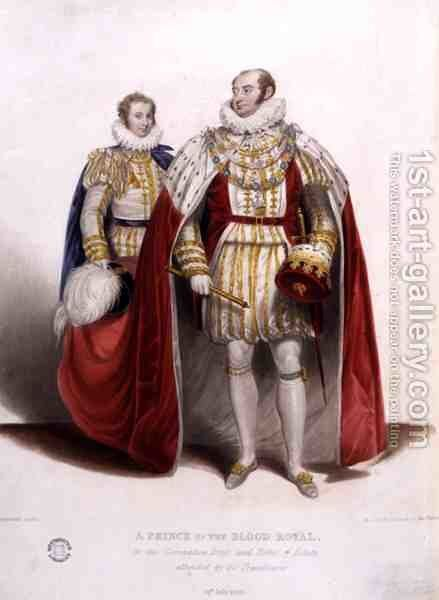 A Prince of the Blood Royal in the Coronation Dress and Robes of Estate Attended by his Trainbearer, 19th July 1821, engraved by Reynolds, 1824 by James Stephanoff - Reproduction Oil Painting