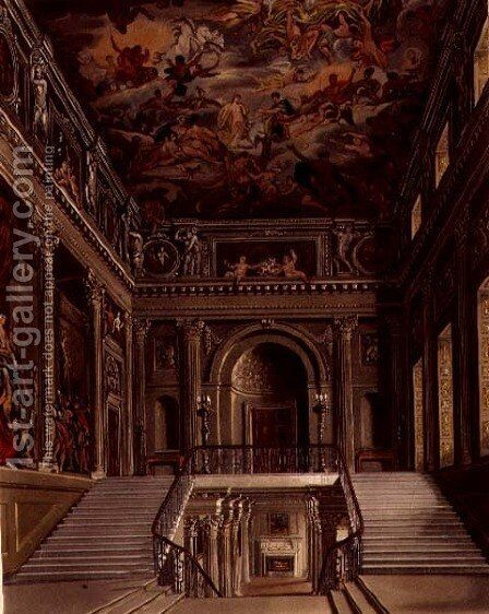 Staircase, Buckingham House, engraved by William James Bennett 1787-1844 from The History of the Royal Residences by William Henry Pyne 1769-1843 pub. 1818 by James Stephanoff - Reproduction Oil Painting