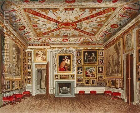 The Presence Chamber, Kensington Palace, from The History of the Royal Residences, engraved by Daniel Havell 1785-1826, by William Henry Pyne 1769-1843, 1819 by James Stephanoff - Reproduction Oil Painting