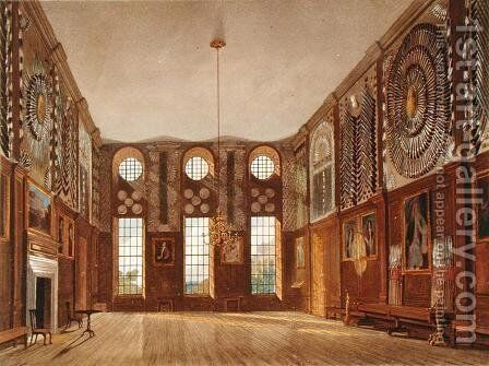 The Guard Chamber, Hampton Court, from The History of the Royal Residences, engraved by Richard Reeve b.1780, by William Henry Pyne 1769-1843, 1819 by James Stephanoff - Reproduction Oil Painting