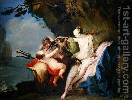 The Nymph Adrastia and the Goat Amalthea with the Infant Zeus by Ignazio Stella (see Stern Ignaz) - Reproduction Oil Painting