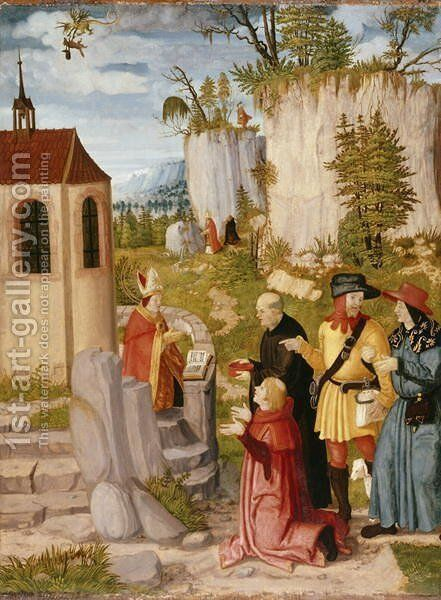 The Townspeople of Regensburg want to bring St. Wolfgang back from the Cell, c.1510-15 by (attr. to) Stetter, Wilhelm - Reproduction Oil Painting