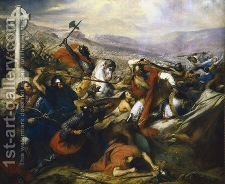 The Battle of Poitiers, 25th October 732, won by Charles Martel 688-741 1837 by Charles Auguste Steuben - Reproduction Oil Painting