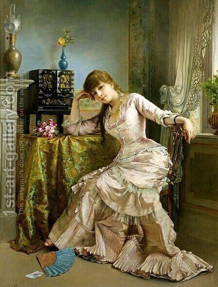 Portrait of a Young Woman by Agapit Stevens - Reproduction Oil Painting