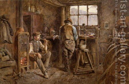 A Jet Workshop, Whitby by Albert G. Stevens - Reproduction Oil Painting